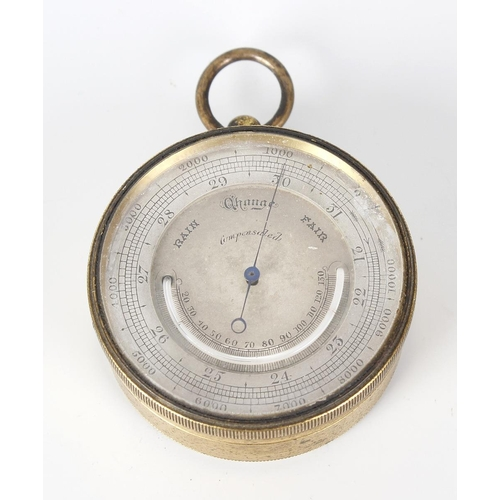 824 - A late Victorian combination pocket barometer and thermometer, the gilt finished case with circular ...