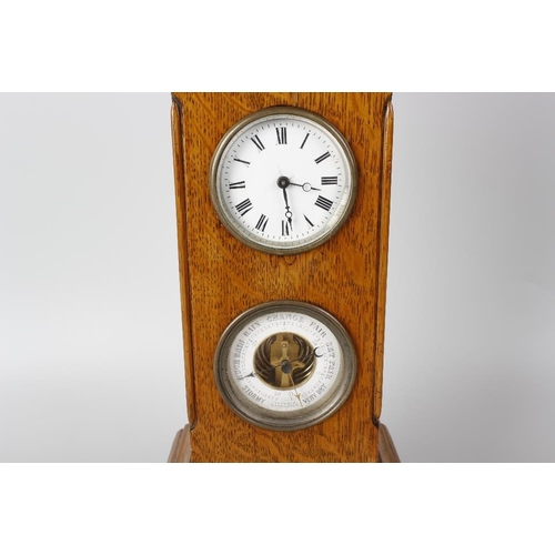825 - An Edwardian oak cased combination desk clock and barometer, the case of castellated turret form, 14...