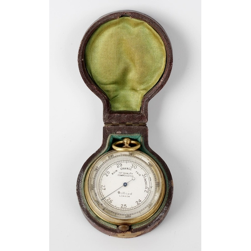826 - A Dolland of London gilt metal cased pocket barometer, the silvered dial with black divisions measur...