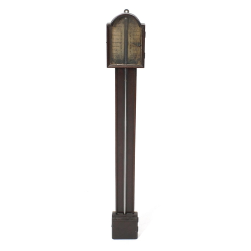 840 - An old reproduction walnut stick barometer. In the early 18th century taste, the break-arched printe...