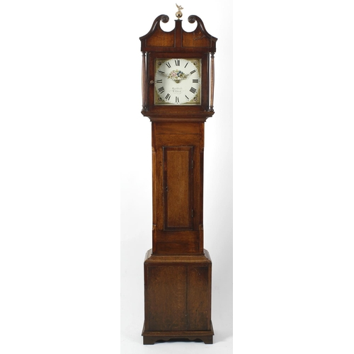 842 - An early 19th century oak and mahogany-cased 30-hour painted dial longcase clock, Bradfords of Totne...