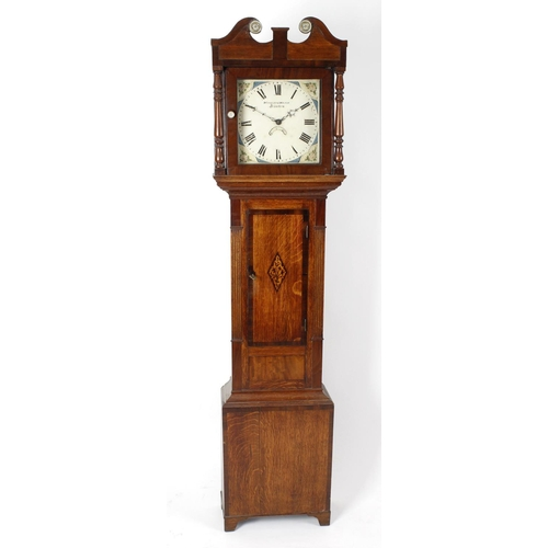 844 - An early 19th century inlaid oak-cased 30-hour longcase clock, Woodley & Walker, Kineton (Warwickshi...