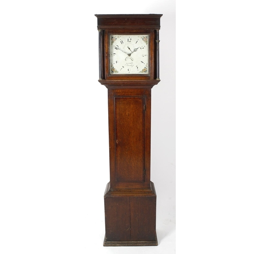 845 - An early 19th century oak- and mahogany-cased 30-hour painted dial longcase clock. Weight, Dursley, ...