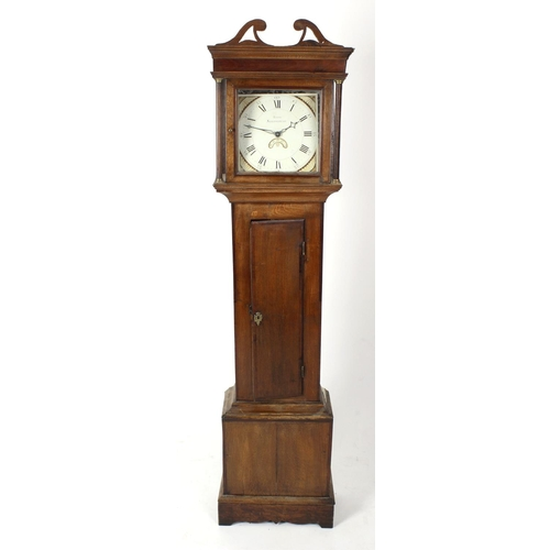 847 - An early 19th century oak- and mahogany-cased 30-hour painted dial longcase clock. Evans, Shrewsbury...