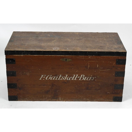 859 - A mixed collection of furniture, to include a silver chest with painted name 'F. Gaitskell-Burr', pl...
