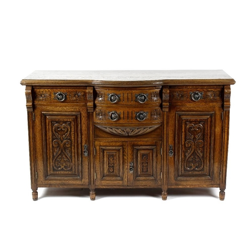 864 - A small selection of furniture, comprising a late Victorian oak sideboard having a breakfront top ov...
