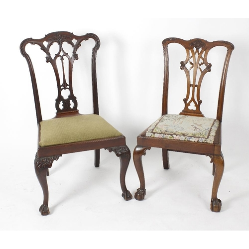 885 - Two early 20th century Chippendale Revival carved mahogany dining chairs. Of similar design, each wi...