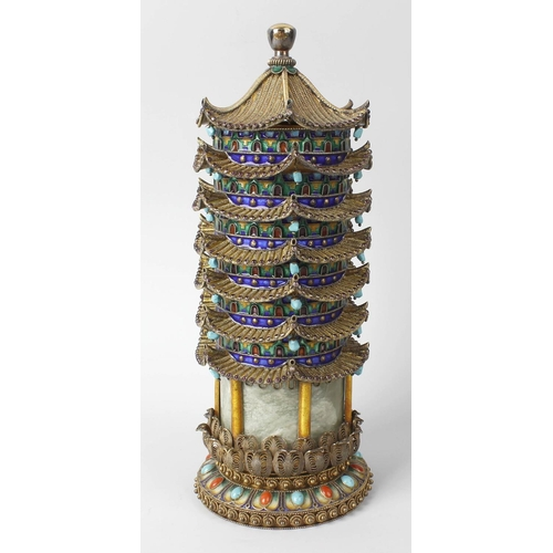 89 - A good mid 20th century Chinese silver, jade, coral, turquoise and enamel model pagoda, the removabl...