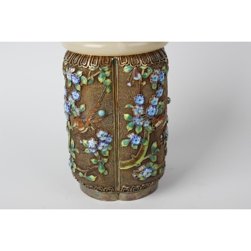 90 - A good mid 20th century Chinese jade, enamel and silver-gilt filigree box and cover, the domed quatr...