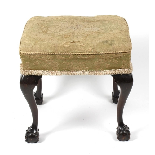 905 - An early 20th century walnut-legged stool, the stuff-over rectangular seat with gilt damask fabric (...