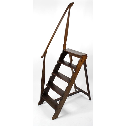 919 - An unusual set of early 19th century oak folding library steps, having five single-plank treads, the...