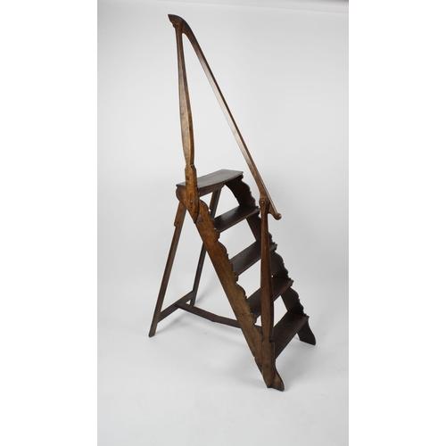 919 - An unusual set of early 19th century oak folding library steps, having five single-plank treads, the...