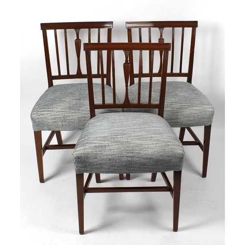 927 - A rare set of eighteen (16 + 2 arm) Regency mahogany dining chairs. Each having a shallow reeded bar...