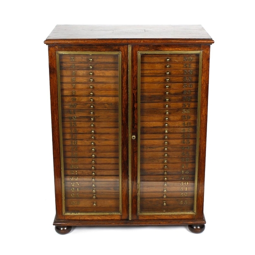 928 - Birmingham interest: A fine mid 19th century rosewood collector's cabinet, the moulded rectangular t...