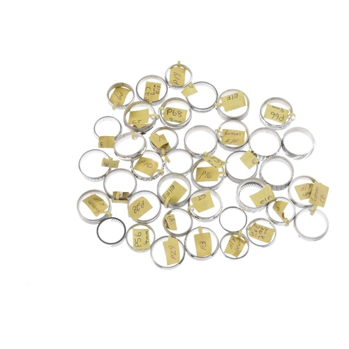 1031 - A bag containing thirty-nine band rings. To include a selection of textured band rings. Gross weight...