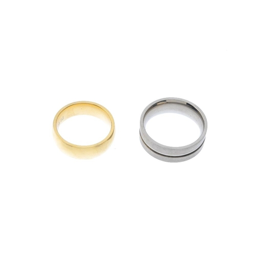 1032 - A bag containing twenty six band rings. To include plain and other designs. Gross weight 102.9gms. <...