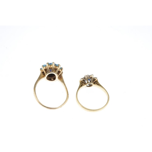 105 - Two gem-set cluster rings. To include a 18ct gold circular-shape sapphire and brilliant-cut diamond ...