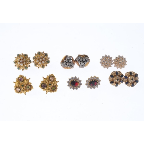 1103 - (131289-2-A) Twelve pairs of assorted earrings. Backings deficient. Weight 111.7gms.  <br>Please be ...