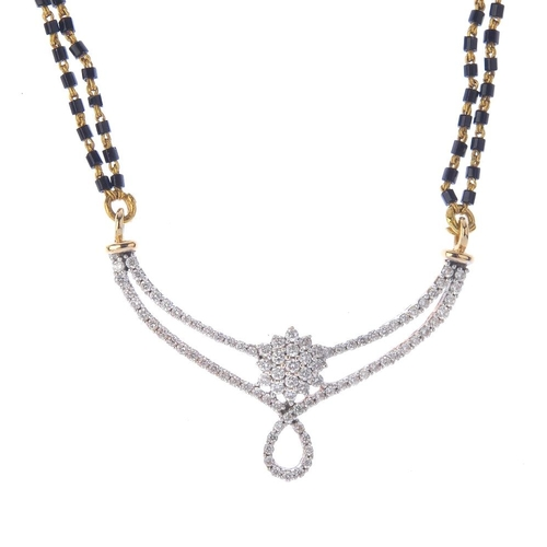 1104 - (131331-1-A) A diamond pendent necklace. Designed as a pave-set diamond panel to the double bead bac...