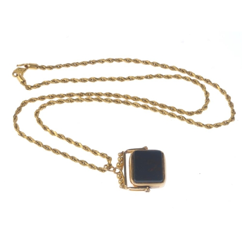 1119 - (131747-1-D) An 18ct gold hard stone swivel fob pendant with rope-twist chain. Fob with hallmarks fo...