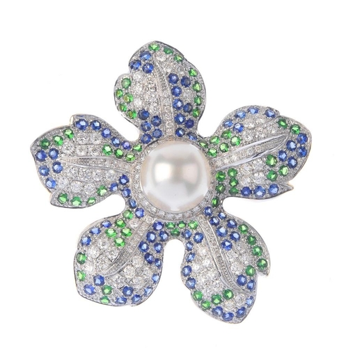 1124 - (131747-1-I) A diamond and gem-set floral pendant. The cultured pearl, with circular-shape green gar...