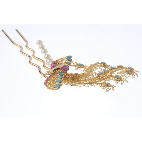 1128 - (131747-1-M) A gem-set hairpin. Designed as a filigree Rooster, with pear-shape opal double cabochon...
