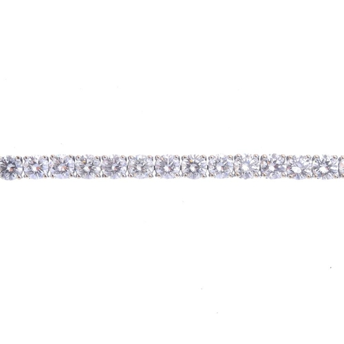 1134 - (131919-1-A) A diamond bracelet. Comprising a brilliant-cut diamond line. Estimated total diamond we...