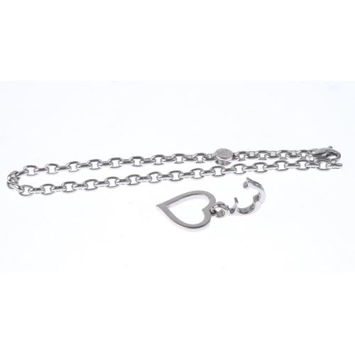 1143 - (132442-2-A) THEO FENNELL - An 18ct gold diamond charm and bracelet. The brilliant-cut diamond heart...