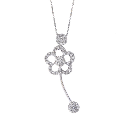 1150 - (132481-1-A) A diamond pendant and chain. The brilliant-cut diamond floral pendant, suspended from a...