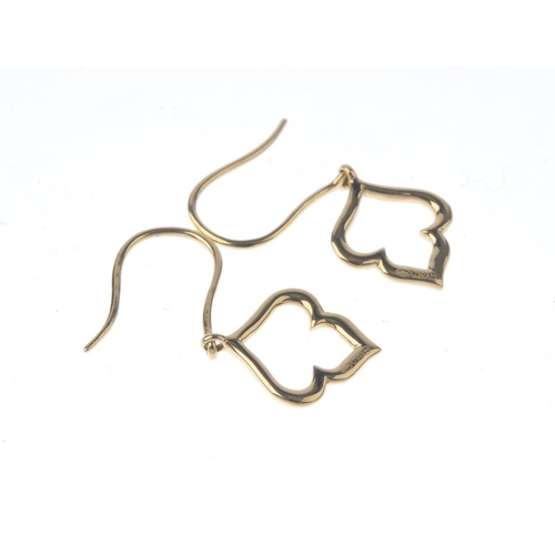 1156 - (132079-3-A) MAPPIN & WEBB - a pair of 'Ivy' earrings. Each designed as an openwork, stylised ivy le...