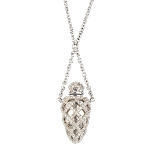 1169 - (3694-7-A) THEO FENNELL - an 18ct gold diamond 'ampoule' pendant. The stylised ampoule, with brillia...