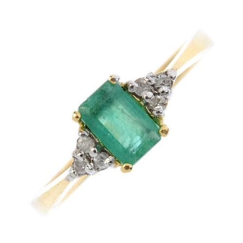 117 - An 18ct gold emerald and diamond dress ring. The rectangular-shape emerald, with single-cut diamond ...