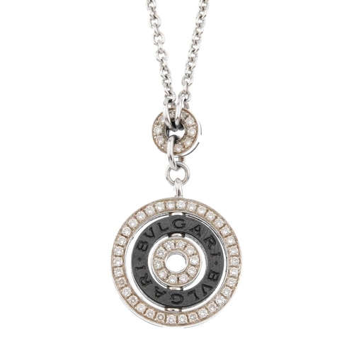 1171 - (3694-9-A) BULGARI - a diamond pendant. Designed as an alternating series of brilliant-cut diamond a...