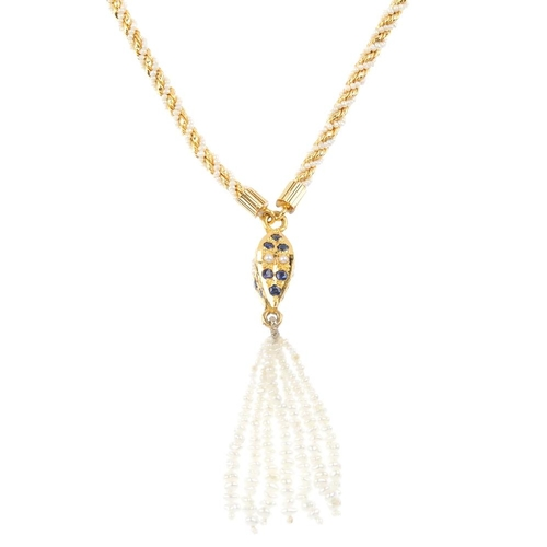 1174 - (3752-3-A) A sapphire and seed pearl necklace. Designed as a seed pearl and white paste tassel, susp...