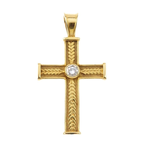 1189 - (4113-1-A) THEO FENNELL - an 18ct gold diamond cross pendant. The brilliant-cut diamond collet, atop...