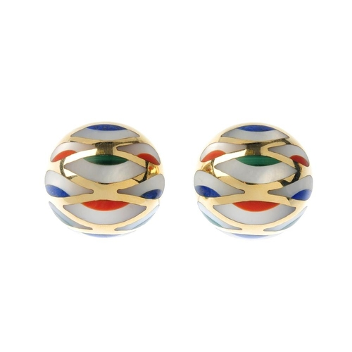 1198 - (4161-7-B) A pair of gem-set earrings. Each designed as a mother of pearl, malachite, coral and lapi...