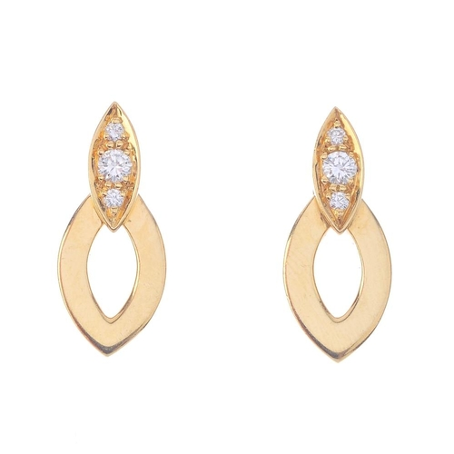 1200 - (4171-1-A) CARTIER - a pair of diamond earrings. Each designed as a polished marquise-shape panel, s...