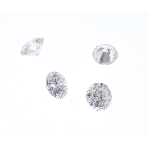 1227 - (401505-1-A) Four loose brilliant-cut diamonds. Estimated total diamond weight 1.95cts, K-tinted col...