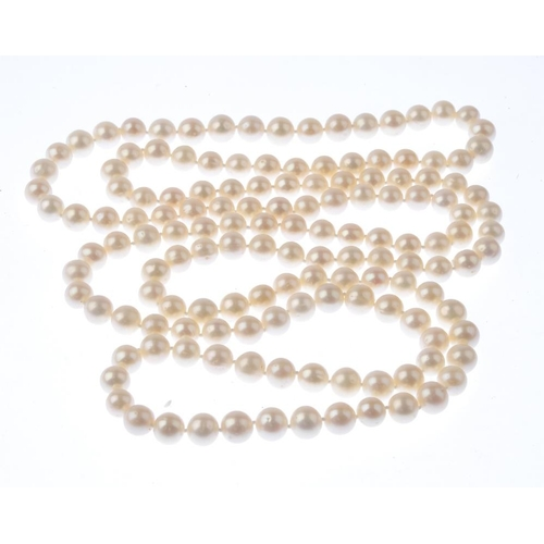 1230 - (401754-1-A) A cultured pearl single-strand necklace. Comprising 146 cultured pearls, measuring appr...