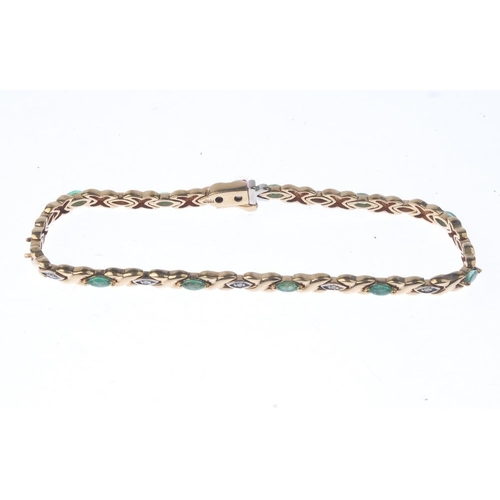 1232 - (401754-3-A) An emerald and diamond bracelet. Designed as a series of marquise-shape emeralds, with ...
