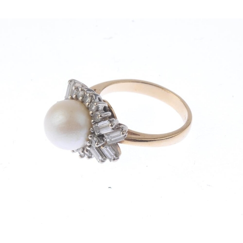 1233 - (401754-4-A) A cultured pearl and diamond cluster ring. The cultured pearl, measuring 8.7mms, with b...