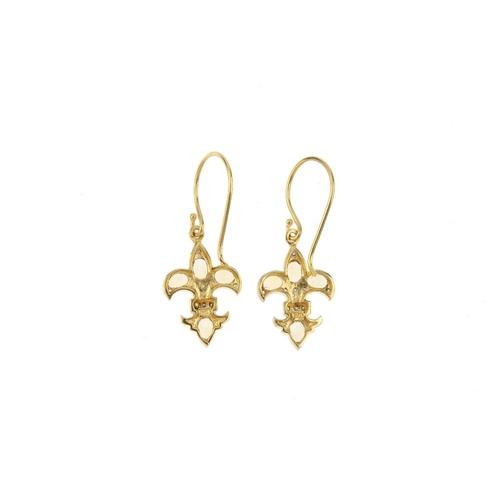 125 - A pair of citrine and diamond fleur-de-lis earrings. Each designed as an oval-shape citrine and sing...