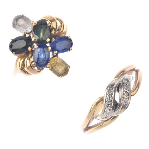 1250 - (401835-1-A) A selection of jewellery and a watch. To include two diamond and gem-set rings, two cha...