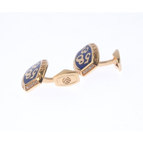 1264 - (546951-1-A) FRANK MULLER - a pair of enamel and diamond cufflinks. Each designed as a curved panel,...