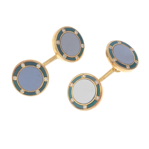 1272 - (547020-1-A) ASPREY - an 18ct gold enamel and gem-set dress stud set. Comprising a pair of cufflinks...