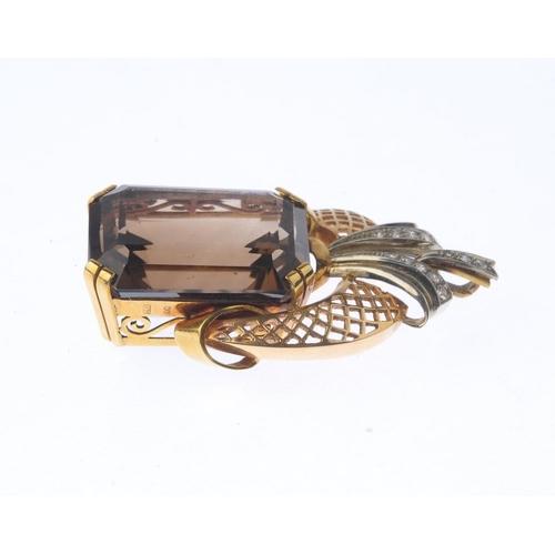 1274 - (547024-1-A) A smoky quartz and diamond pendant. The rectangular-shape smoky quartz, with a single-c...
