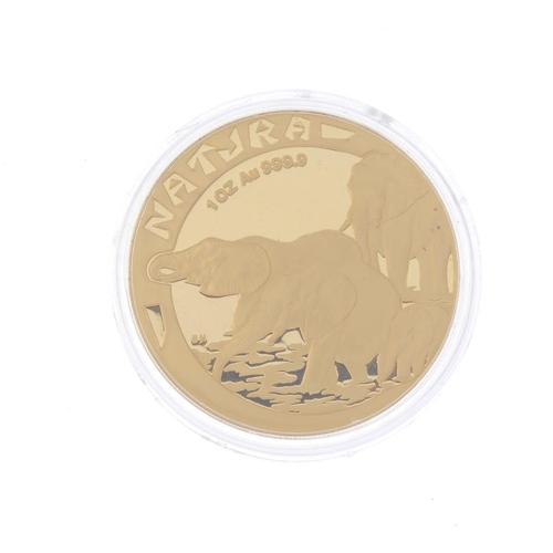 1275 - (547034-1-A) South Africa, proof,  find gold medal 1996, Natura, elephants each side. Weight 31.1gms...