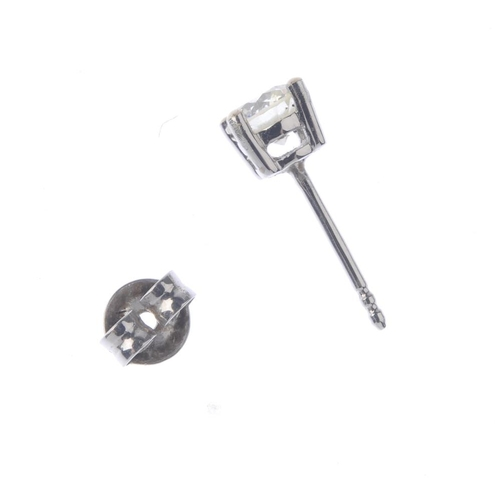 1277 - (547309-1-A) A single diamond stud earring. Designed as a brilliant-cut diamond single-stone ear stu...