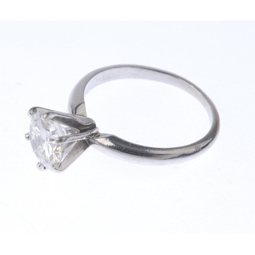 1279 - (547459-1-A) A diamond single-stone ring. Designed as a brilliant-cut diamond, with plain band. Esti...