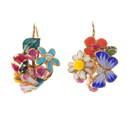 1283 - (547791-1-A) DIOR - A pair of diamond and enamel earrings. Each with varying multi-coloured enamel s...